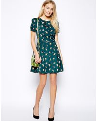 Oasis - Multicolor Bird Print Belted Skater Dress - Lyst