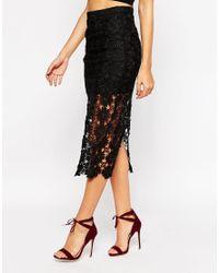 AX Paris | Black X Paris Crochet Midi Skirt | Lyst