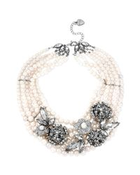 Betsey Johnson | Metallic Silvertone Faux Pearl and Crystal Flower Statement Collar Necklace | Lyst