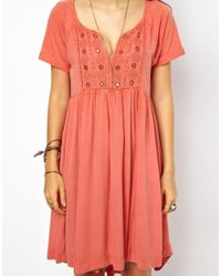 Free People - Red Dress in Lace with Mirror Embroidery - Lyst