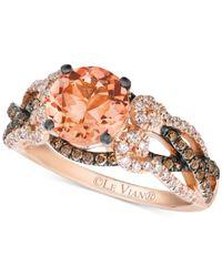Le Vian | Orange Peach Morganite (1-3/8 Ct. T.w.) And Diamond (5/8 Ct. T.w.) Ring In 14k Rose Gold | Lyst