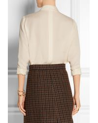 FRAME - Natural Le Bow Silk-georgette Blouse - Lyst