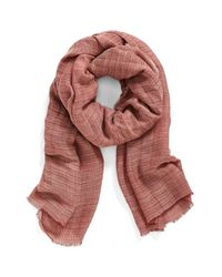 Hinge - Red Texture Stripe Scarf - Lyst