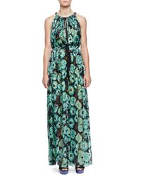 Lanvin | Green Floral-print Tassel Drawstring-neck Maxi Dress | Lyst