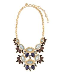 Lee Angel - Blue Ornate Layered Crystal Bib Necklace - Lyst