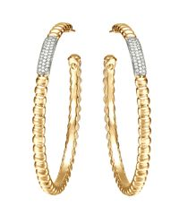 John Hardy - Yellow Gold Bedeg Pave Diamond Large Hoop Earrings - Lyst
