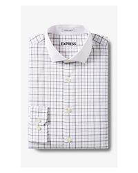 Express - Blue Extra Slim Contrast Collar Plaid Shirt for Men - Lyst