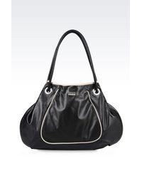 Armani | Black Shoulder Bag In Soft Napa Leather | Lyst