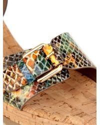 Stella McCartney - Natural Linda Python-Print Wedge Sandals - Lyst