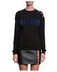 Versus - Black Cotton Sweatshirt With Logo - Lyst
