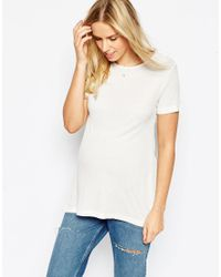 ASOS | Natural Baby Rib T-shirt With Cut Out Cowl Back | Lyst