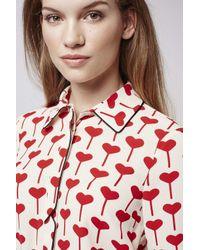 TOPSHOP - Red Heart Print Shirt - Lyst