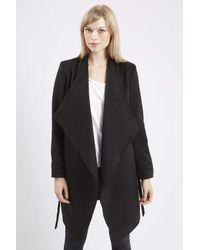 TOPSHOP - Black Phoebe2 Longline Wrap-up Coat By Jovonna - Lyst
