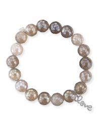 Sydney Evan - Natural Potato Pearl White Medium Black Diamond Horn Bracelet - Lyst