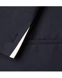 Kilgour | Blue Navy Contrast-trimmed Mohair And Wool-blend Blazer for Men | Lyst