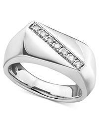 Macy's - Metallic Men's Sterling Silver Ring, Diamond Five Stone (1/5 Ct. T.w.) for Men - Lyst