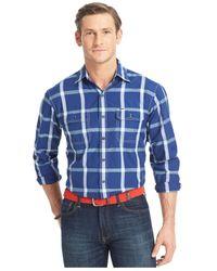 Izod - Blue Explorer Performance Long Sleeve Plaid Shirt for Men - Lyst