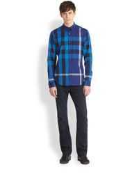 Burberry Brit - Blue Fred Pocket Exploded Check Shirt for Men - Lyst