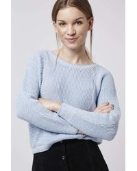 TOPSHOP | Blue Two-tone Tipped Crop Jumper | Lyst
