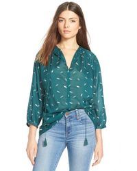 Madewell | Green 'fall Feathers' Tie Neck Peasant Blouse | Lyst