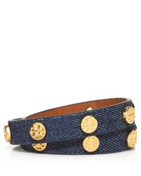 Tory Burch | Blue Logo-Studded Denim Wrap Bracelet | Lyst