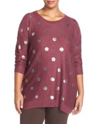Sejour - Red Foil Dot Sweater - Lyst