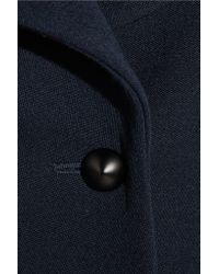 Chloé - Blue Leather-trimmed Wool Coat - Lyst