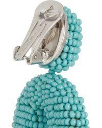 Oscar de la Renta - Blue Beaded Clip Earrings - Lyst