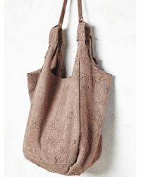 Free People | Natural Latico Leathers Womens Scarlett Distressed Suede Tote | Lyst