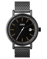 Edwin - Black 'epic' Mesh Strap Watch for Men - Lyst