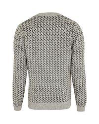 River Island - Gray Grey Reindeer Christmas Sweater for Men - Lyst