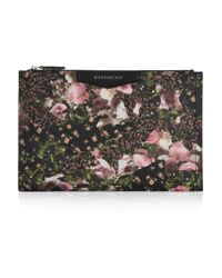 Givenchy | Black Antigona Pouch in Floralprint Faux Leather | Lyst