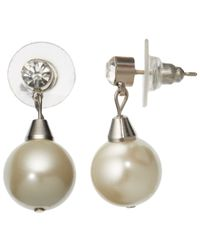 John Lewis | Metallic Faux Pearl And Cubic Zirconia Drop Stud Earrings | Lyst