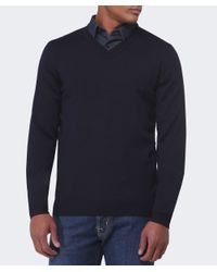 BOSS - Blue V-neck Batisse Jumper for Men - Lyst