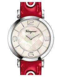 Ferragamo - Red 'gancino Deco' Leather Strap Watch - Lyst