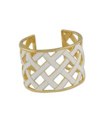 Kenneth Jay Lane | Metallic White Basketweave Cuff | Lyst