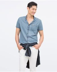 Zara | Blue Denim Shirt for Men | Lyst