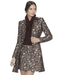 Alice + Olivia - Brown Veronika Shimmery Jacquard Princess Coat - Lyst