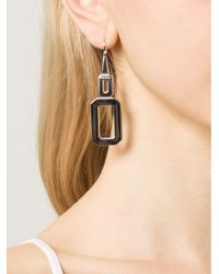Rebecca - Metallic Elizabeth Square Drop Earrings - Lyst