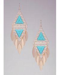 Bebe - Blue Triangle Stone Earrings - Lyst