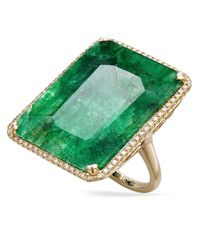 Macy's | 14K Gold Ring, Dyed Green Sapphire (22-1/2 Ct. T.W) And Diamond (1/3 Ct. T.W.) Rectangular Ring | Lyst