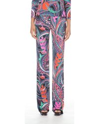 Emilio Pucci | Black Abstract-print Slim-fit Jersey Trousers | Lyst