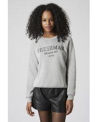 TOPSHOP - Gray Freshman Sweatshirt By Project Social T - Lyst