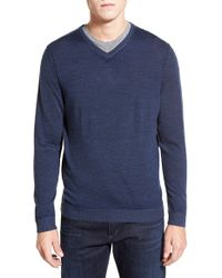 Tommy Bahama - Blue 'paradise Night' Merino Wool V-neck Sweater for Men - Lyst