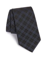 John Varvatos | Blue Plaid Silk Blend Tie for Men | Lyst