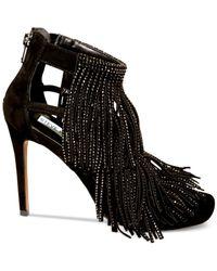 Steve Madden | Black Fringly-r Embellished Fringed Heels | Lyst