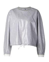 T By Alexander Wang - Gray Drawstring Sweatshirt - Lyst