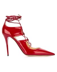 Jimmy Choo - Red Hoops Leather Pumps - Lyst