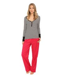 Betsey Johnson | Red Rib And Flannel Pajama | Lyst
