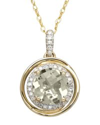 Lord & Taylor | Metallic 14k Yellow Gold Amethyst And Diamond Pendant | Lyst
